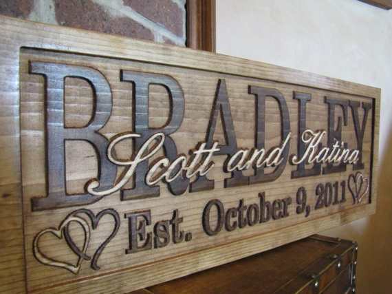 Personal Wedding Gifts For The Bride: Personalized Wedding Gift Family Name Signs Custom Wooden
