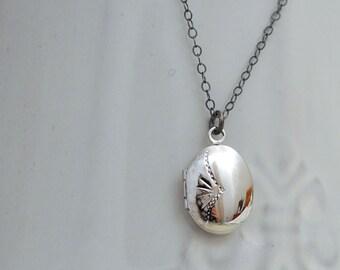 button locket sterling silver, PETITE LOCKET NECKLACE,  sterling silver locket necklace with long chain
