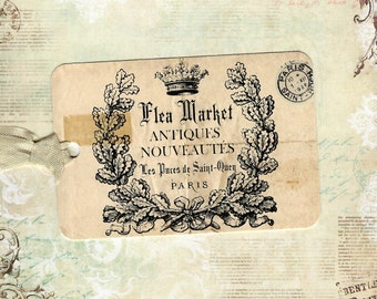 French, Flea Market Tags, French Style Tags, Crown, Gift Tags, French Crown