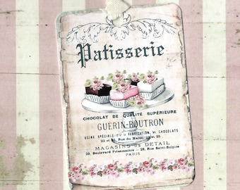 Tags, Gift Tags, French Patisserie, Bakery Tags