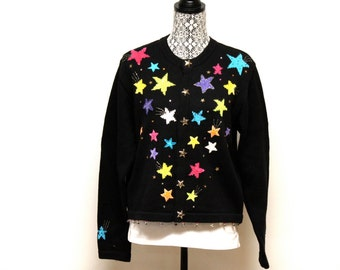 Vintage black Women's ugly beaded Star Christmas sweater size large by Jack B. Quick