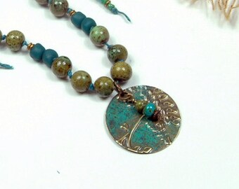 Originally 42, Teal Green Leaves,  Patina Brass, Hand Tied, Beaded, Boho, Casual Necklace cpmn11