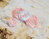 Baby Girl Fabric Flower Rosette Headband and Bracelet Set, Pink White Lace Satin, photo prop, baby shower gift, First Baby Outfit Gift