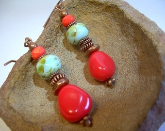 Copper Bead Dangle Earrings In Southwest Style Czech Beads Coral And Turquoise