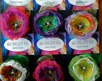 Wild Gypsy Rose hairclip or brooch pin -fabric flower