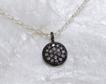 Natural Pave' Diamond and Sterling Silver Pendant Necklace - Eco Friendly - Ethical - Conflict Free