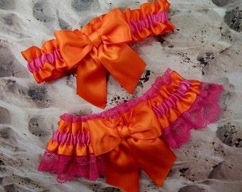 Orange Satin Hot Pink Bow Hot Pink Fuchsia lace Wedding Bridal Garter Toss Set
