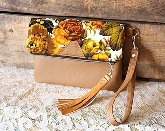 Floral canvas clutch with faux leather trim tassel Wrist strap  --READY TO SHIP--