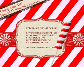 Candy Clipart, Christmas Candy Clipart, Peppermint Candy Clipart, Peppermint Graphics