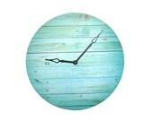 Faux Wood Grain Wall Clock in Aqua Turquoise Tones -  Unique Wall Decor  - Large Wall Clock - Rustic Wall Clock - Unique Wall Clock - 1948