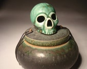 Jade Green Skull Urn Covered Jar