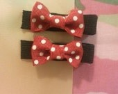 "Pair of ""Mini mouse"" bow hair clips"
