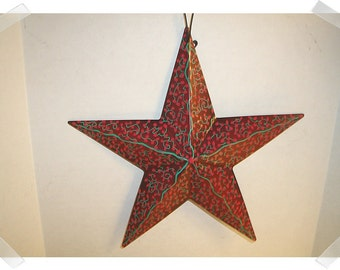 """Metal Dark Red Color Star Ornament w/Hand Painted Design/ 8"""" / Home Decor*"""