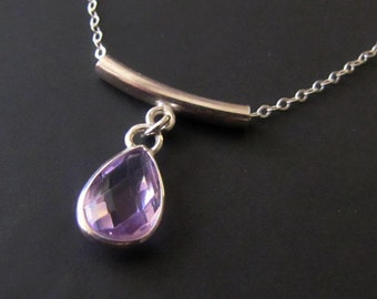 Sterling Silver Necklace, Round Bar Necklace, Lavender Glass Necklace, Pendant Necklace, Crystal Necklace, Jewelry, Gift