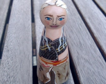 """Custom Small 3.5"""" wooden peg doll ORNAMENT in any likeness!"""