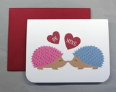 Hedgehogs with Hearts Valentine's/Wedding/Anniversary/Engagement A2 Folded Card