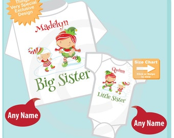 Christmas theme Set of Two, Big Sister Elf Shirt, and Little Sister Elf Onesie or Shirt Set Personalized (12012014e)