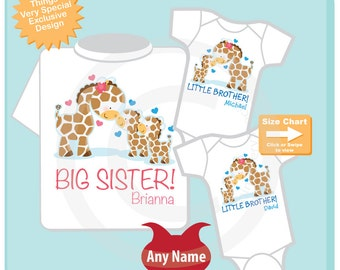 Set of Three Personalized Big Sister and Twin Baby  Brothers Giraffes Shirt and Onesie (05012013a)
