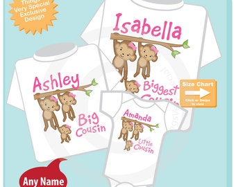 Matching Set of Three Personalized Biggest Cousin Girl, Big Cousin Girl, Little Cousin Monkey Girl Tee Shirts or Onesies (05142015f)