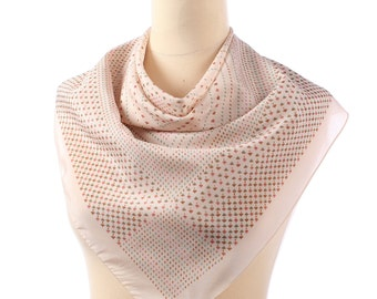 CHAMPAGNE Color Polka Dot Vintage Scarf 70s  Muffler Light Cream White Green Beige Dotted Retro Headscarf Fashion Accessories Gift Ideas