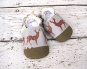 Eco-Canvas Vegan Deer Sketch in Brown / non-slip soft sole baby shoes / made to order / Babies Toddlers Preschool