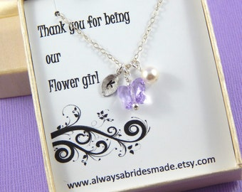 Flower Girl Gift, Thank you for being our Flower Girl or Bridesmaid Necklace, Butterfly Necklace, Personalized Flower Girl Gift