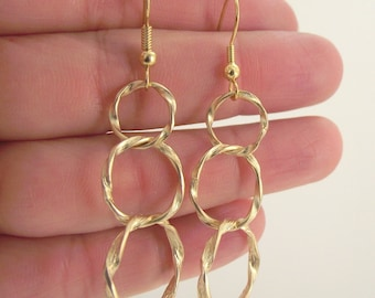 Graduated Gold Loop Earrings, Twisted Hoop Gold Earrings, Long Gold Earring, Dangle, Gift for her, Gift under 30