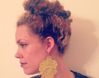 Hand Dyed Lace Earrings
