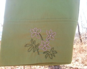 hand embroidered Violets standard pillowcase