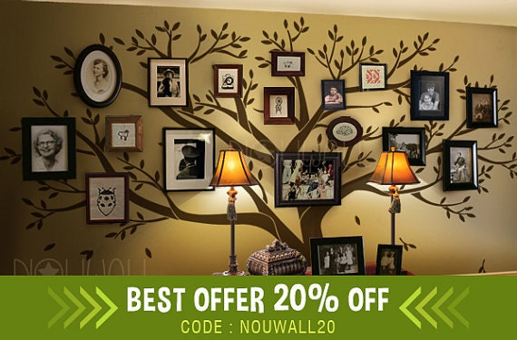 Wall decal Tree Wall Decals Wall Stickers Photo Frame Family