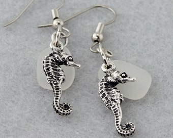 Antique Pewter Seahorse with White Genuine Sea Glass Earrings