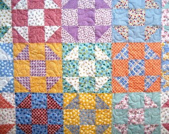 """Bright and Sweet Baby Toddler Patchwork Quilt  Lap Quilt  Throw  Retro Style  Shoo-Fly Blocks 44"""" x 44"""""""