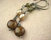 Bronzite freshwater pearl smokey czech glass Sterling Silver Earrings hand made rustic Oxidized Gray long Dangle