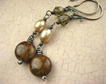 Bronzite freshwater pearl smokey czech glass Sterling Silver Earrings hand made rustic Oxidized Gray long Dangle