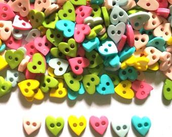 100 pcs Cute love heart buttons 9 mm 2 holes Mix pastel colors
