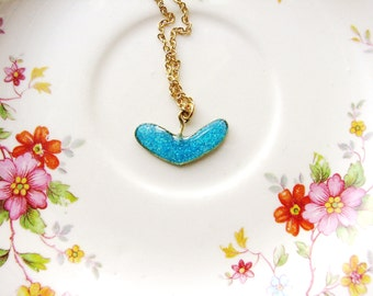 Heart Necklace Glitter Necklace Blue Necklace Heart Shaped Pendant Necklace Aqua Blue Bridal Minimalist Jewelry Sparkly Handmade Jewelry