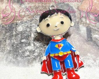 "2"" Adorable Enamel Superman Pendant"