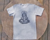 Meditating Sloth / Om / Yoga inspired Tee / American Apparel Men's / Unisex T-Shirt in Light Grey