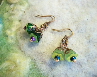 Tiny Green Earrings, Woodland Pixie Flower Earrings, 2 Pair