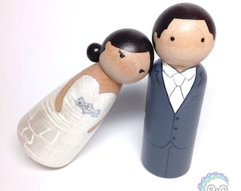 wedding cake toppers with base • peg doll cake toppers • special occasion • bridal shower