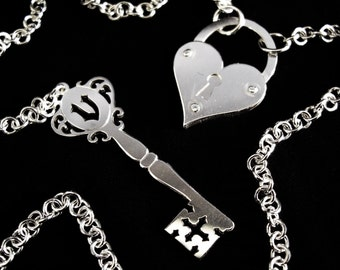 Sterling Silver Heart Padlock and Antique Style Key with Personalised Initial Necklace - Gift for Her - VEILED HEART