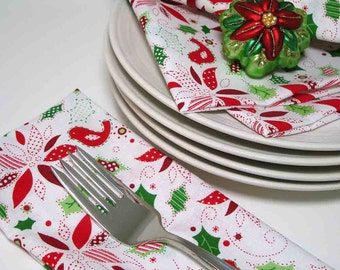 Dinner Napkins - Holiday Poinsettias and Red Birds - Cotton - Reusable - set of 4
