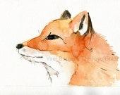 Young Fox art print, fox watercolor print, animal art, wild life art, nursery decor, woodland art, fox portrait, red fox print