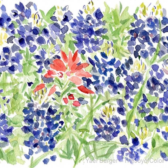 Art Print Bluebonnet And Indian Paintbrush Field By