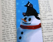 Black Cat on Snowman Laminated Bookmark - Sammy On a Snowman Illustration