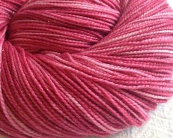 Sparkle Sock Yarn Mary Read Pirette Hand Dyed Hand Painted  sockyarn 438 yards handdyed pink rose superwash merino nylon stellina fingering