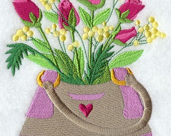 FASHION FLOWER PURSE #3- Machine Embroidered Quilt Block (AzEB)