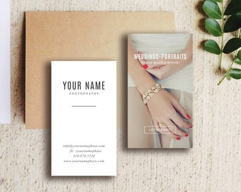 Wedding Photography Business Card Template - Digital Photoshop Templates - Vertical Business Card Design - Design By Bittersweet