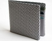 Mens wallet, Wallet, Billfold, Vintage Upcycled Fabrics,Grey Geometrics, Handmade by Knotted Nest on Etsy