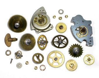 Vintage Scrap Clock Gears, Pieces & Parts